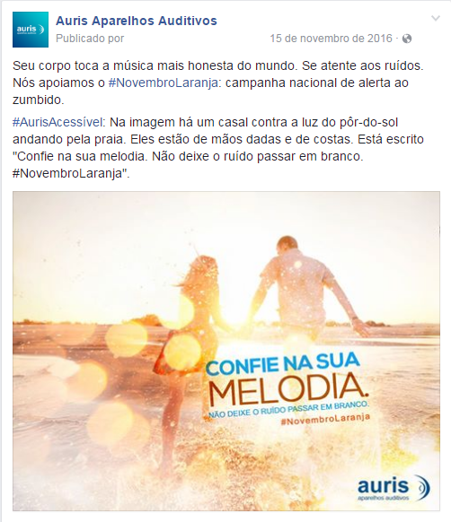 Na imagem, o post da Auris que fala sobre a melodia e o novembro laranja, refletindo valores da empresa no digital.