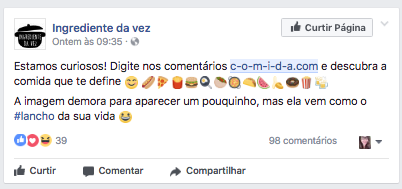 Na imagem, o post do Ingrediente da Vez sobre o c-o-m-i-d-a.com.
