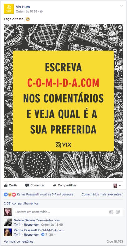 Na imagem, o post do Vix Hum sobre o c-o-m-i-d-a.com.