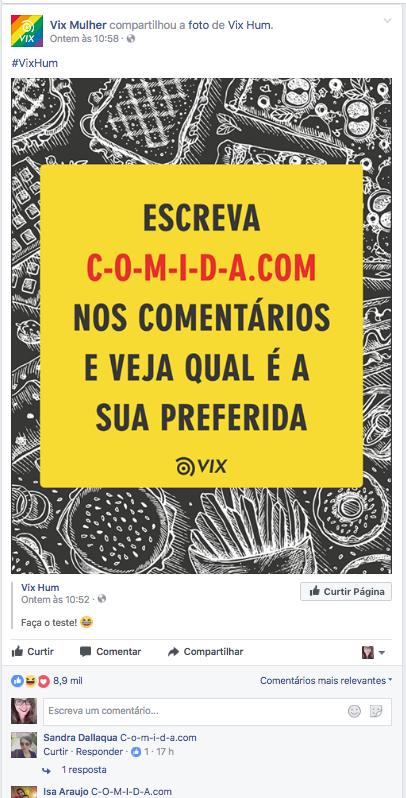 Na imagem, o post do Vix Mulher sobre o c-o-m-i-d-a.com.