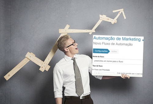 Na imagem, um homem segura um cartaz com a dashboard de um início de automação de marketing, na plataforma RD Station, uma ferramenta completa de automação de marketing digital.