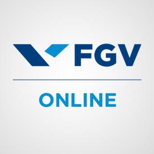 Na imagem, o logo da FGV Online, com cursos grátis em diversas áreas.