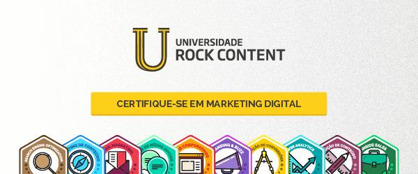 Na imagem, a Universidade Rock Content, com cursos grátis de marketing digital.