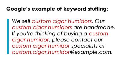 Na imagem, o excesso de palavras-chave, um erro grave de SEO.