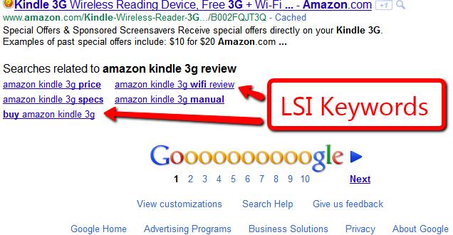 Na imagem, a sugestão de LSIs, para não cometer erros de SEO.