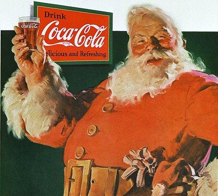Na imagem, o papai noel criado pela Coca-Cola, prova de que marcas influenciam pessoas.