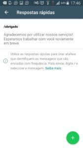 Na imagem, a mensagem de agradecimento do Whatsapp Business.