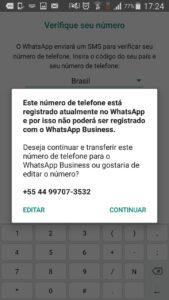 Na imagem, o Whatsapp Business com mensagem de atenção para registro de um número pessoal.