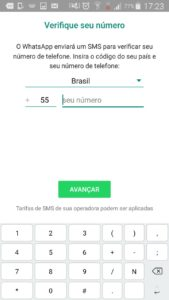 Na imagem, a tela de registro de número do Whatsapp Business.